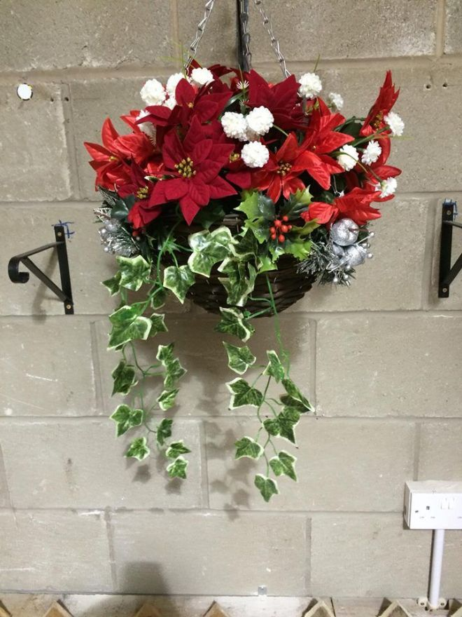 How To Make Round Hanging Flower Baskets : Round wicker artificial flower hanging basket poinsettia